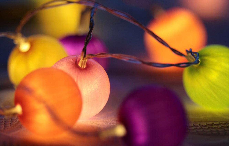 Photo wallpaper lights, holiday, garland