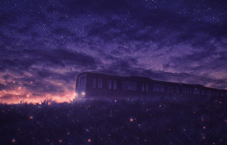 Photo wallpaper sunset, nature, train, starry sky