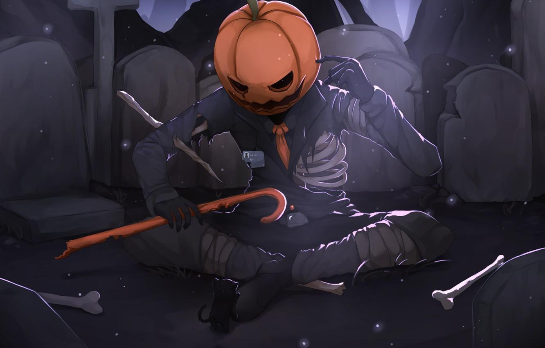 Photo wallpaper skeleton, pumpkin, kitty, Halloween, Jack - conqueror of the pumpkins