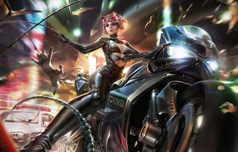 Photo wallpaper Girl, Glasses, Costume, Art, Bike, Catwoman, Selina Kyle, Kitty, Dc Comics, DC Universe