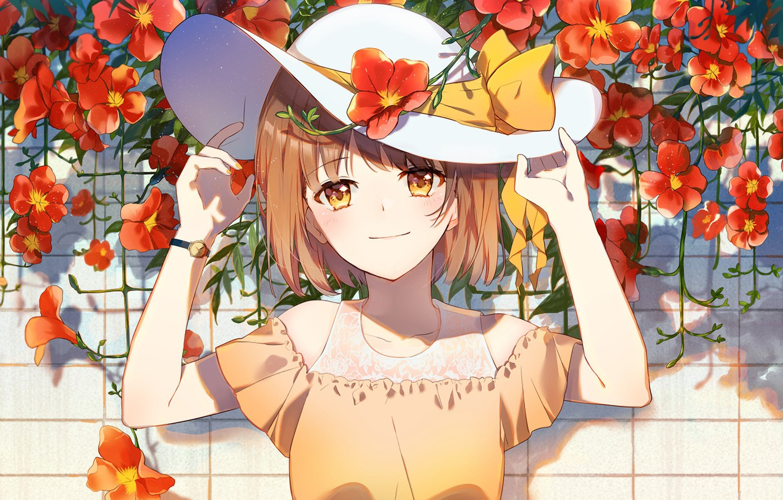 Photo wallpaper girl, flowers, hat