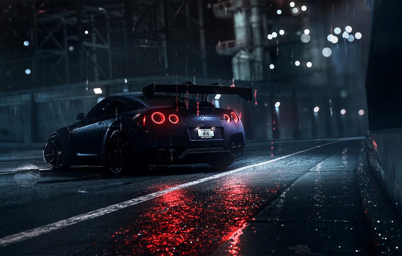 Photo wallpaper Auto, Night, Machine, Rain, Nissan, GT-R, Need for Speed, Daredevil, Rendering, Nissan GT-R, Game Art, …