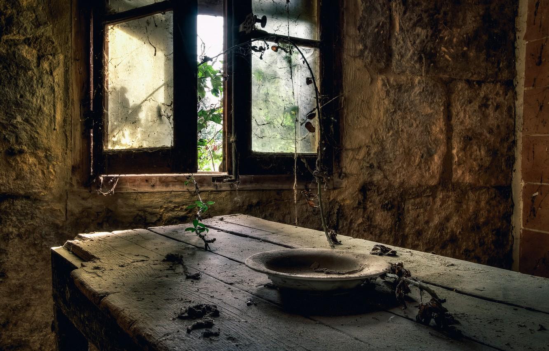 Photo wallpaper table, window, plate