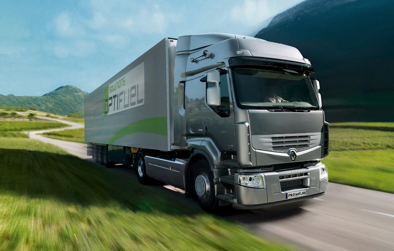 Photo wallpaper grass, grey, movement, truck, Renault, tractor, 4x2, the trailer, Premium Route, Renault Trucks