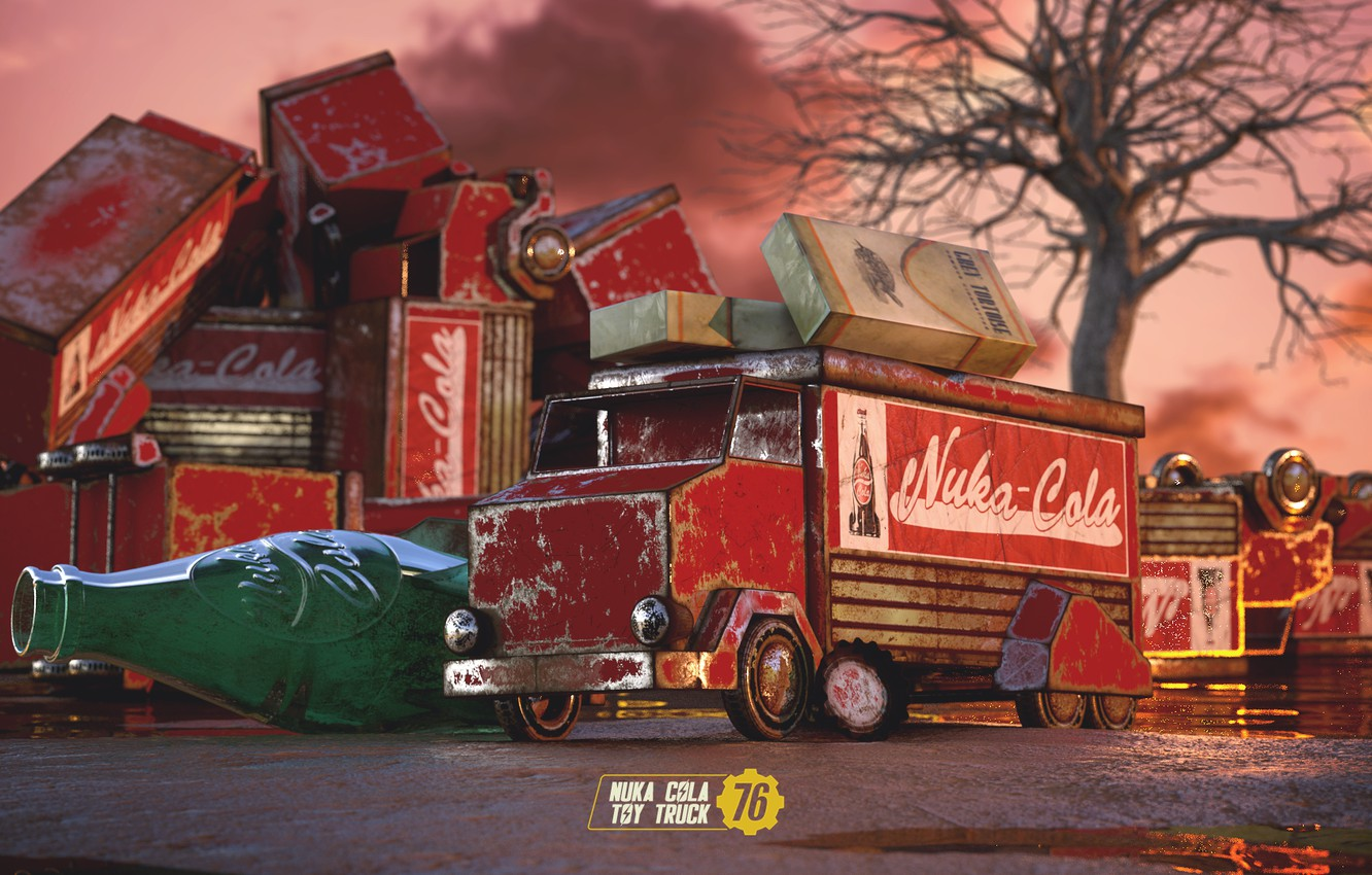 Wallpaper Auto Machine Toy Truck Art Art Style Rendering