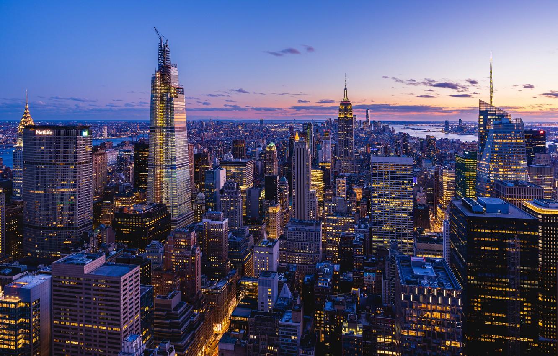 Photo wallpaper building, home, New York, panorama, night city, Manhattan, skyscrapers, Manhattan, New York City
