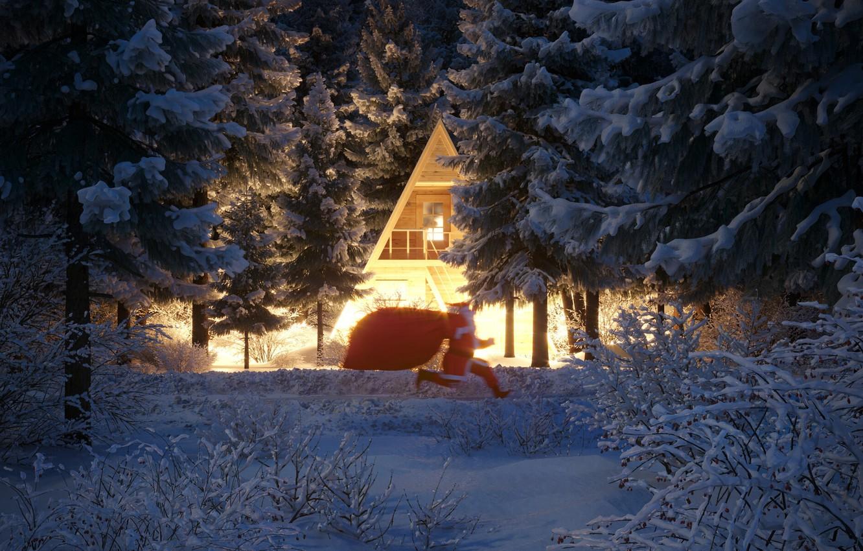 Photo wallpaper winter, snow, trees, house, Christmas, New year, Santa Claus, runs, the bushes, holidays, a bag …