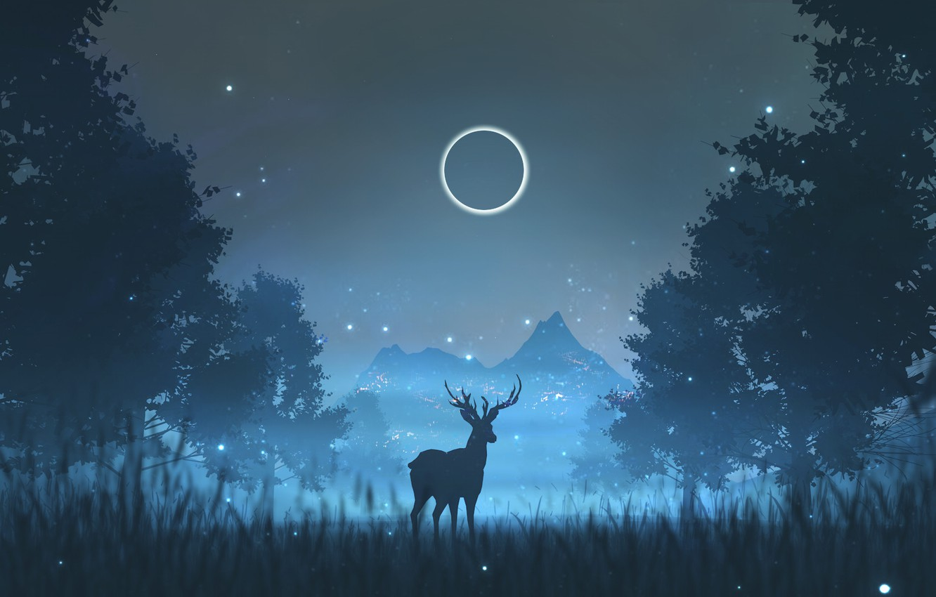 Photo wallpaper Night, Trees, The moon, Forest, Silhouette, Deer, Fantasy, Night, Illustration, Animal, Deer, Environment, Environments, by …