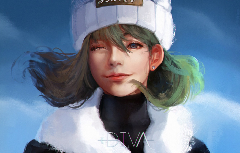Photo wallpaper the sky, girl, green hair, cap, wink, white fur, by Diva