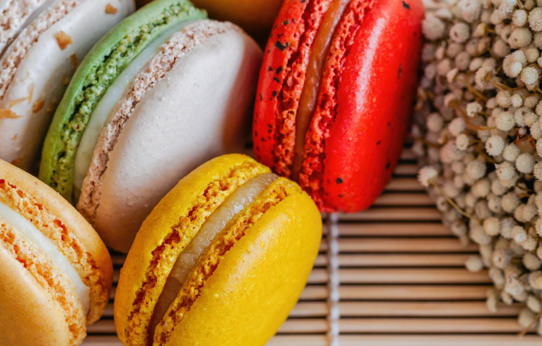 Photo wallpaper colorful, dessert, cakes, sweet, sweet, dessert, bright, macaroon, french, macaron, macaroon
