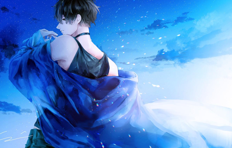 Photo wallpaper the sky, guy, starry sky, by 世