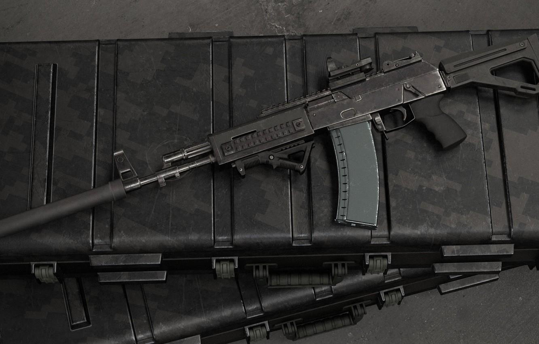 Photo wallpaper rendering, weapons, tuning, gun, weapon, render, muffler, custom, Kalashnikov, assault rifle, assault Rifle, silencer, Kalashnikov, …