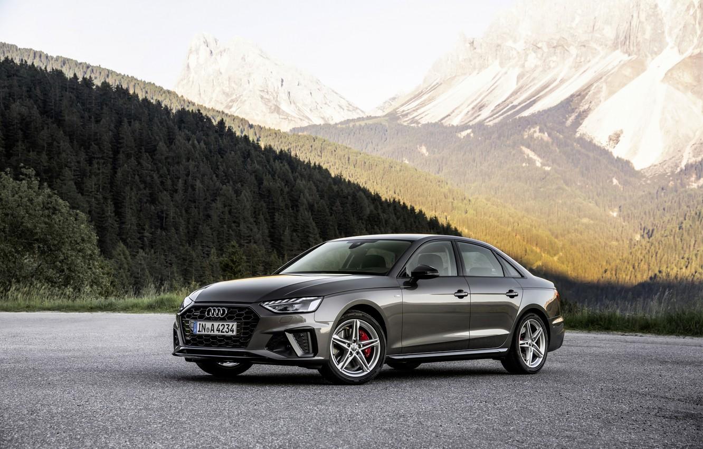 Photo wallpaper forest, mountains, Audi, slope, sedan, Audi A4, 2019
