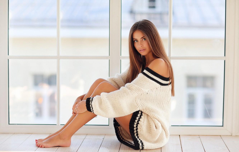 Photo wallpaper pose, model, hair, the building, Girl, figure, window, legs, sitting, shoulders, Dmitry Arhar, Alina Sabirova