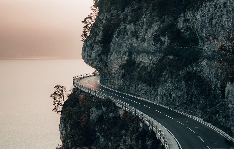 Photo wallpaper road, sea, landscape, nature, mountain, rocks, bokeh, mist, Cliff
