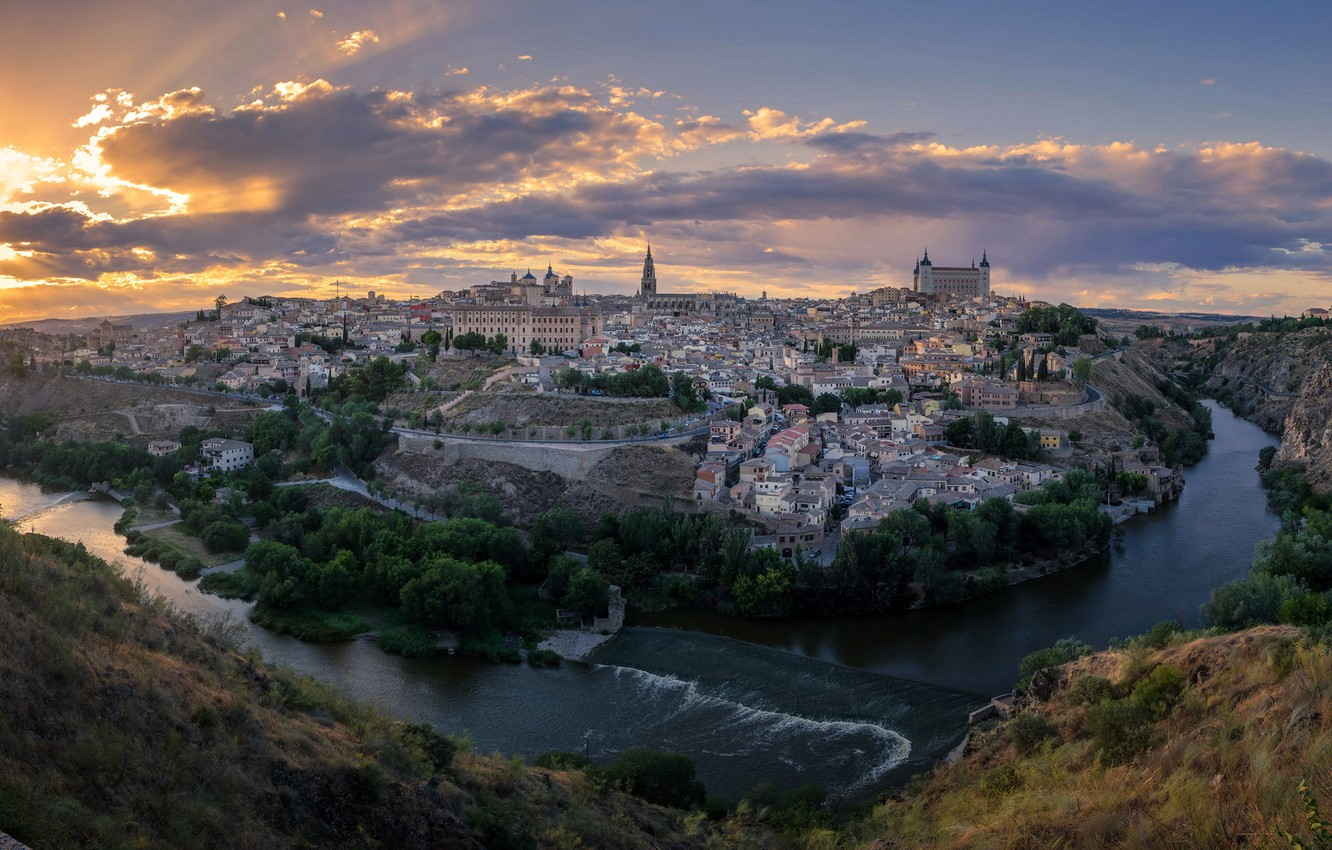Photo wallpaper the sky, the sun, clouds, landscape, sunset, the city, river, rocks, home, canyon, Spain, Toledo