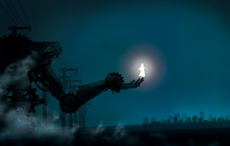 Photo wallpaper girl, night, fantasy, glows, metal hand