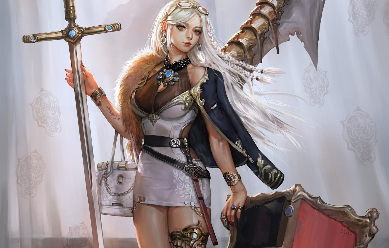 Photo wallpaper girl, sword, fantasy, dress, weapon, blue eyes, blonde, digital art, Princess, artwork, shield, fantasy art, …