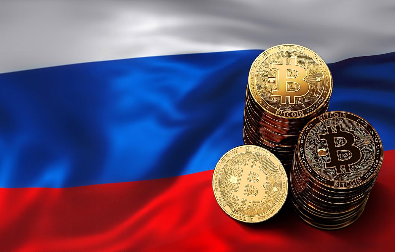Photo wallpaper flag, coins, Russia, russia, flag, coins, bitcoin, bitcoin