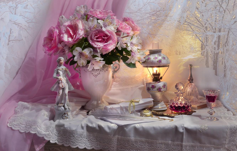 Photo wallpaper flowers, pen, glass, lamp, roses, fabric, vase, figurine, drink, curtain, napkin, figure, decanter, Valentina Fencing