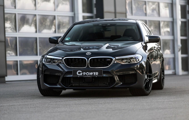 Photo wallpaper BMW, sedan, front view, G-Power, 2018, BMW M5, four-door, M5, F90, dark gray