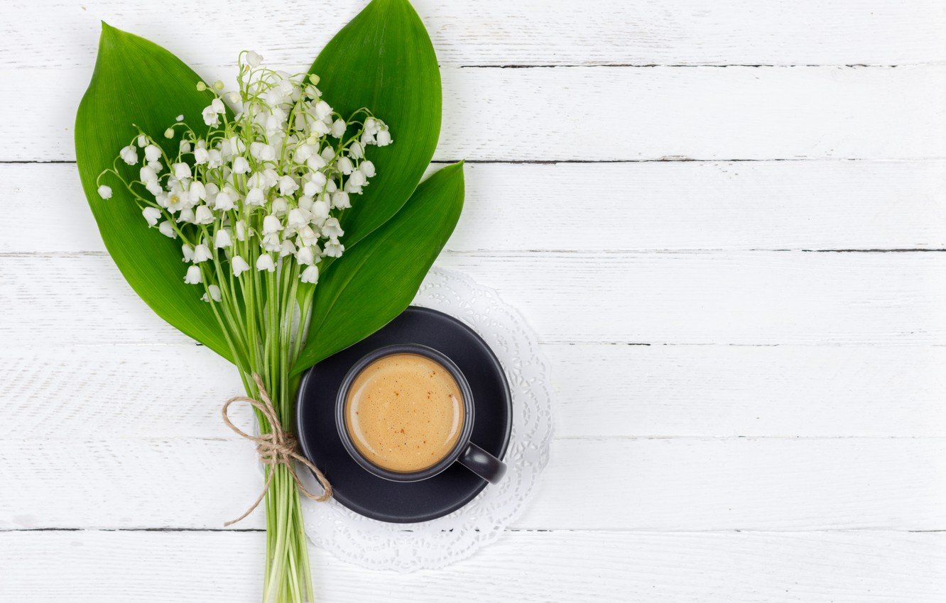 Photo wallpaper coffee, bouquet, spring, lilies of the valley