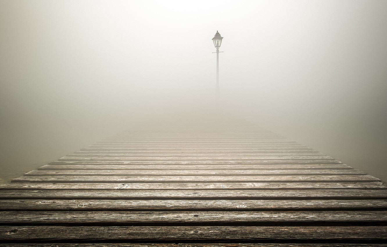 Photo wallpaper fog, lantern, fog, lantern, flooring, flooring, Luke Rebustini