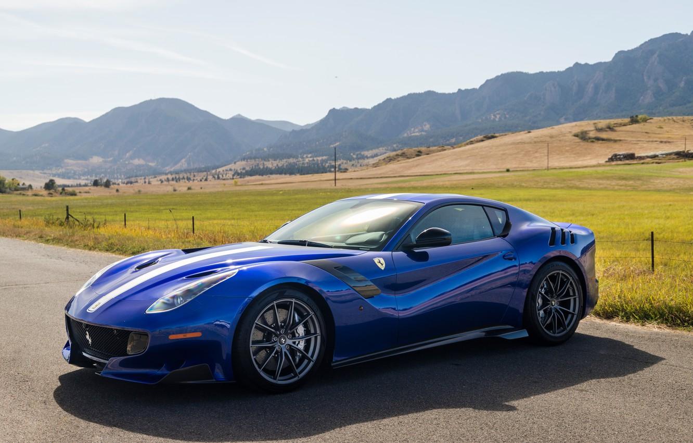 Photo wallpaper road, blue, sports car, Gran Turismo, Ferrari F12 TDF