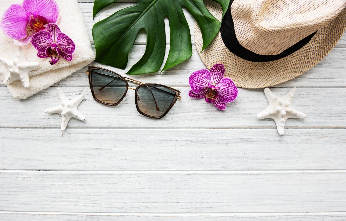 Photo wallpaper leaves, flowers, stay, white, hat, Orchid, pink, flowers, orchid, vacation, spa, starfish, sunglasses, zen, rlax