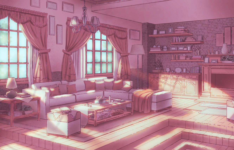 Photo wallpaper Sofa, Light, Room, Windows, Things, Art, Wall, Style, Lighting, Illustration, Room, Books, Window, Living Room, …