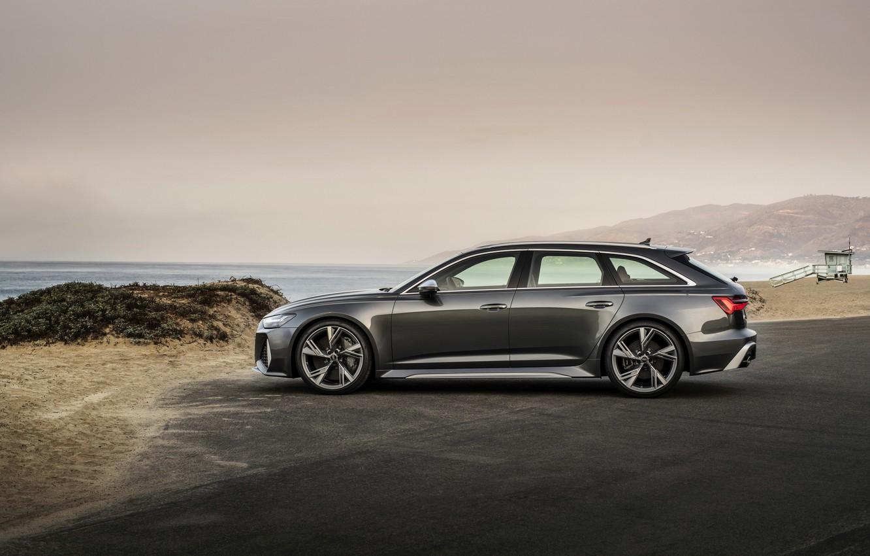 Photo wallpaper Audi, side view, universal, RS 6, 2020, 2019, dark gray, V8 Twin-Turbo, RS6 Avant