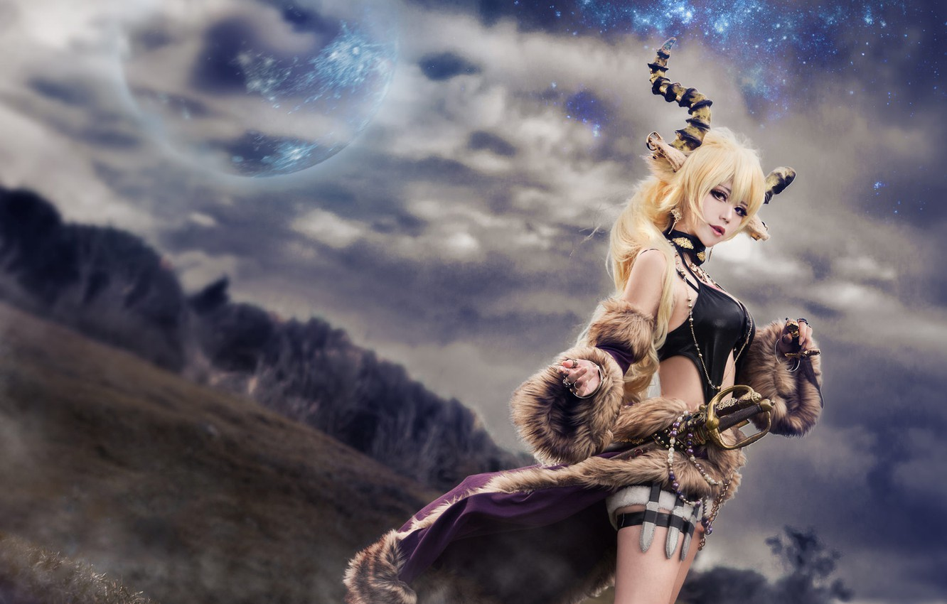 Photo wallpaper field, forest, chest, the sky, look, girl, space, clouds, nature, face, sexy, pose, style, weapons, …