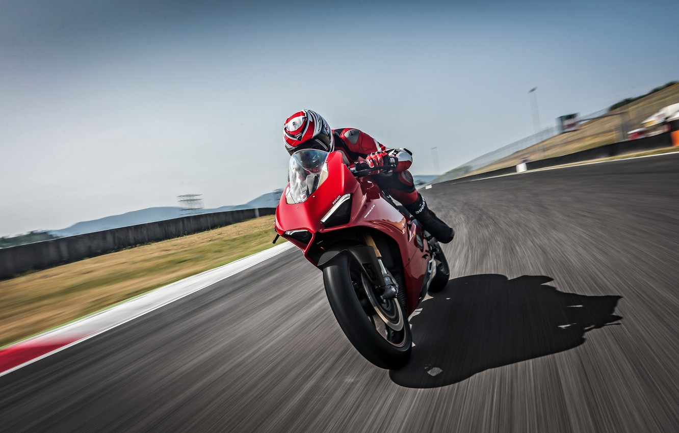 Photo wallpaper Speed, Lights, Track, Ducati, 2018, Panigale, Sportbike, V4 S, Ducati Panigale V4 S