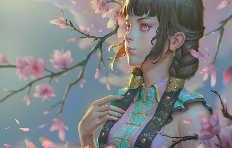 Photo wallpaper the wind, spring, Sakura, art, Naranbaatar Ganbold, Maral Portrait