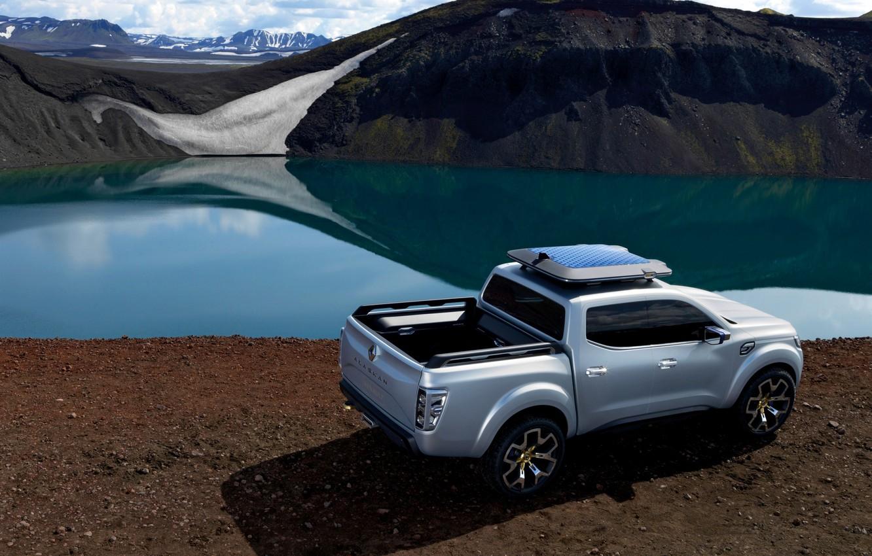 Photo wallpaper snow, silver, Renault, pickup, pond, 2015, Alaskan Concept