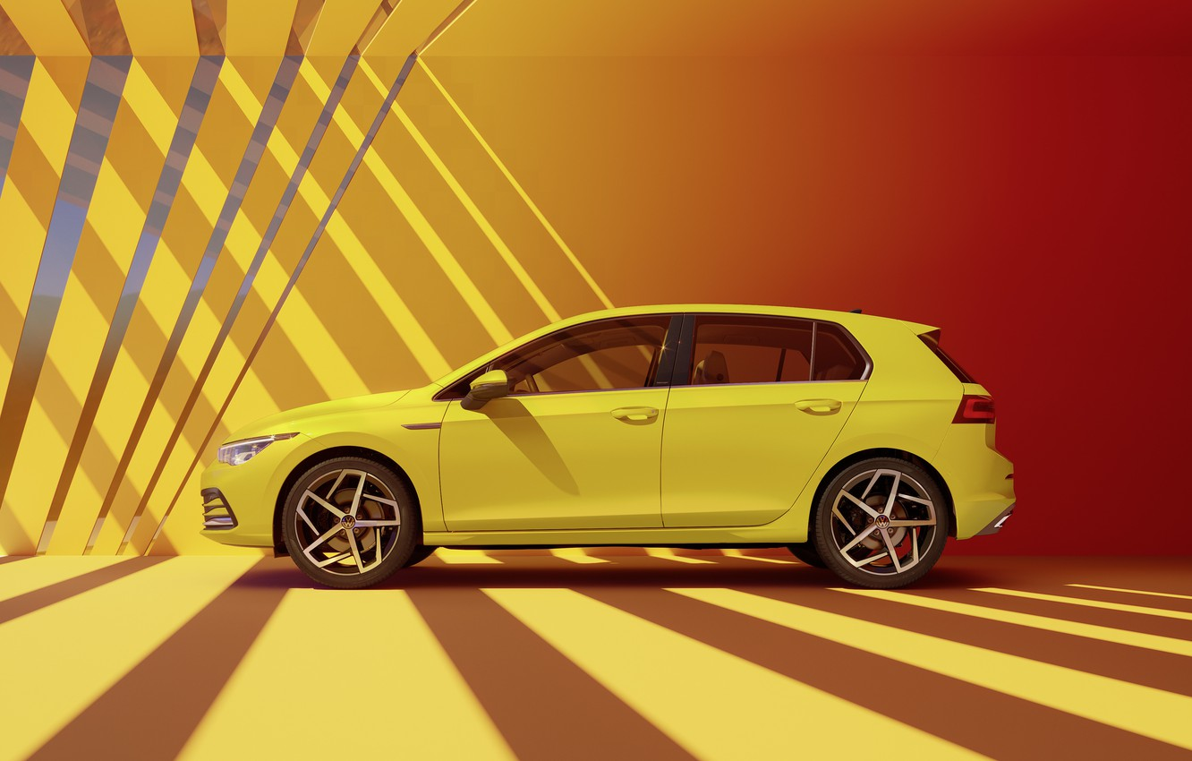 Photo wallpaper Volkswagen, side view, hatchback, Golf, hatchback, R-Line, 2020