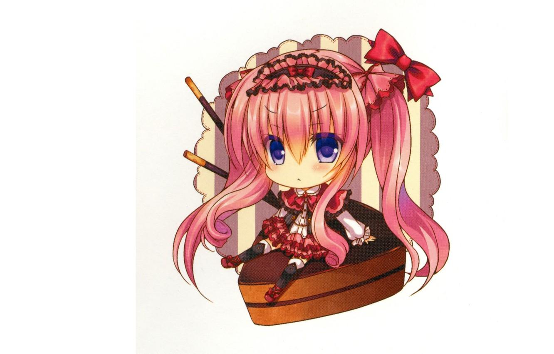 Photo wallpaper white background, bows, blue eyes, pink hair, big eyes, the actual, chocolate dessert, Lilia Chocolanne, …