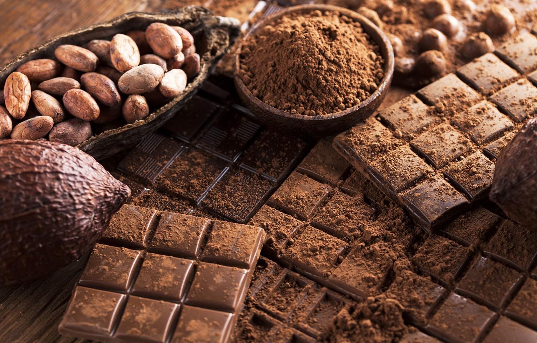 Photo wallpaper chocolate, sweet, chocolate, sweet, cocoa, beans