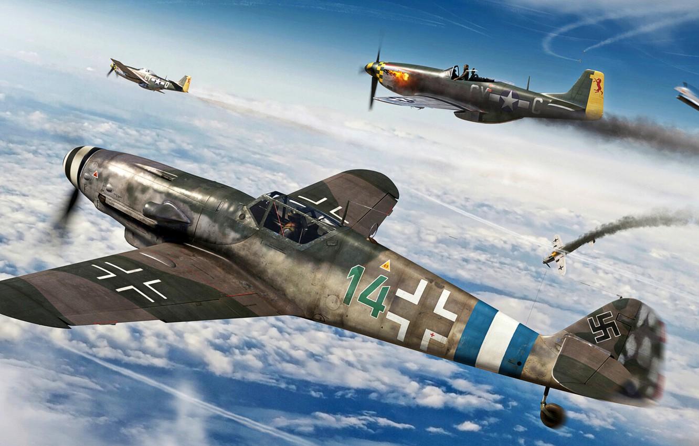 Photo wallpaper Fighter, Messerschmitt, P-51D, P-51 Mustang, Bf.109G-10, Bf-109G, Боевая авиация