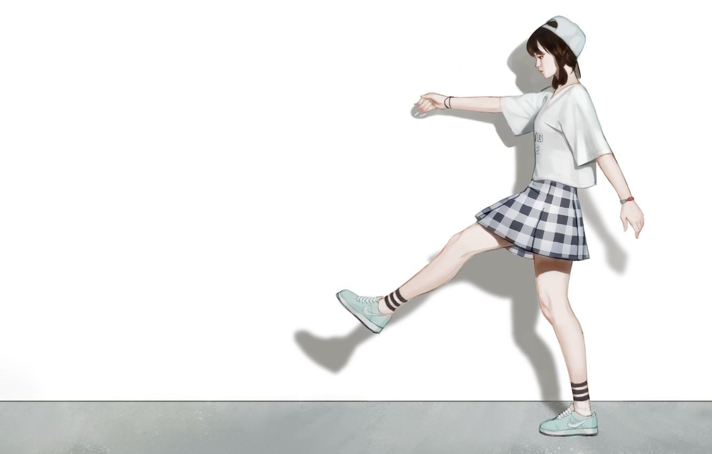 Photo wallpaper Girl, Art, Asian, Style, Nike, Background, Illustration, Minimalism, Skirt, Cap, Character, Kim Sunhong