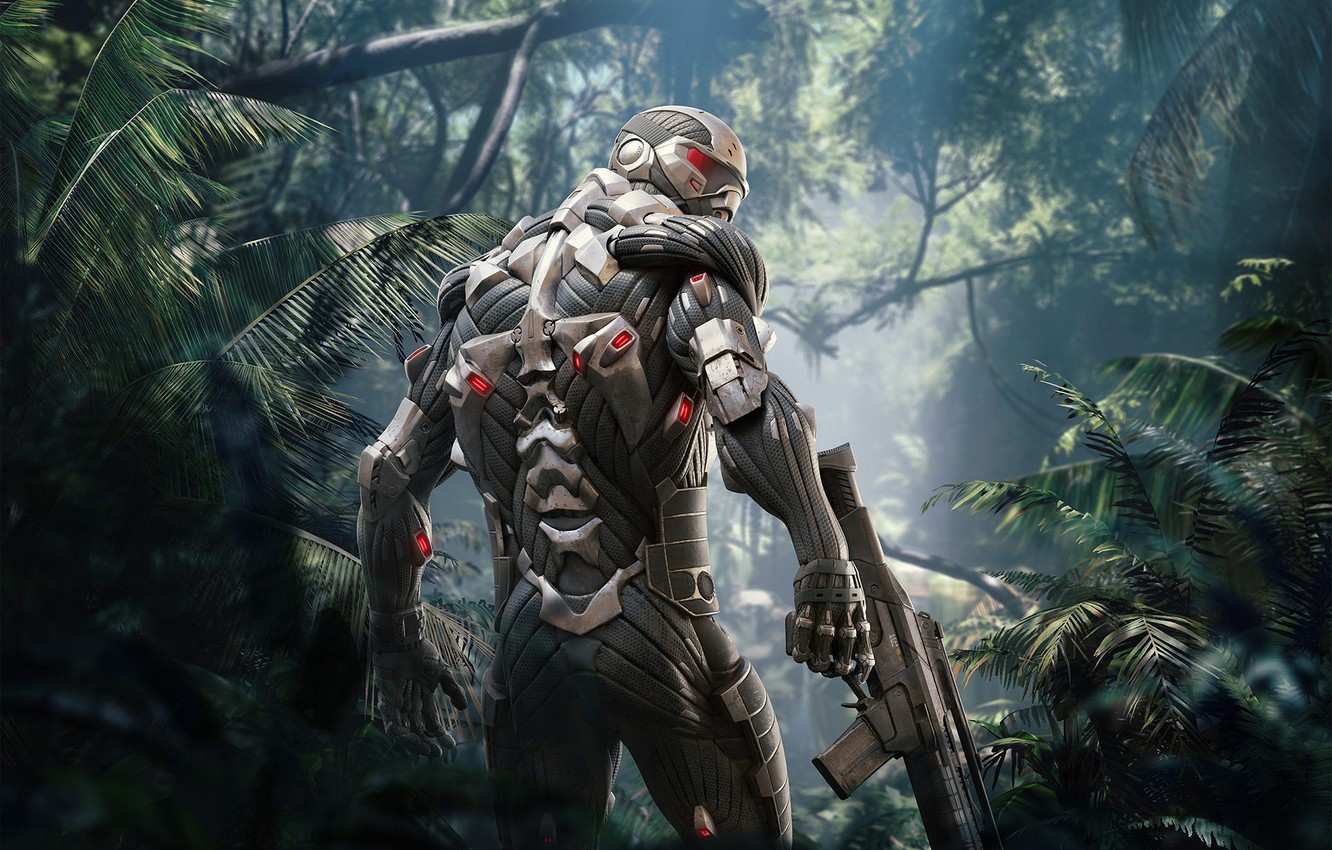 Photo wallpaper Look, Trees, Soldiers, Weapons, Crysis, Jungle, Electronic Arts, Remastered, Crysis Remastered, Nanosuit, Crysis: Remastered