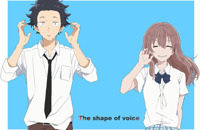 Photo wallpaper girl, Anime, guy, two, tears, 2016, You no Katachi, A Silent Voice, Form Voice