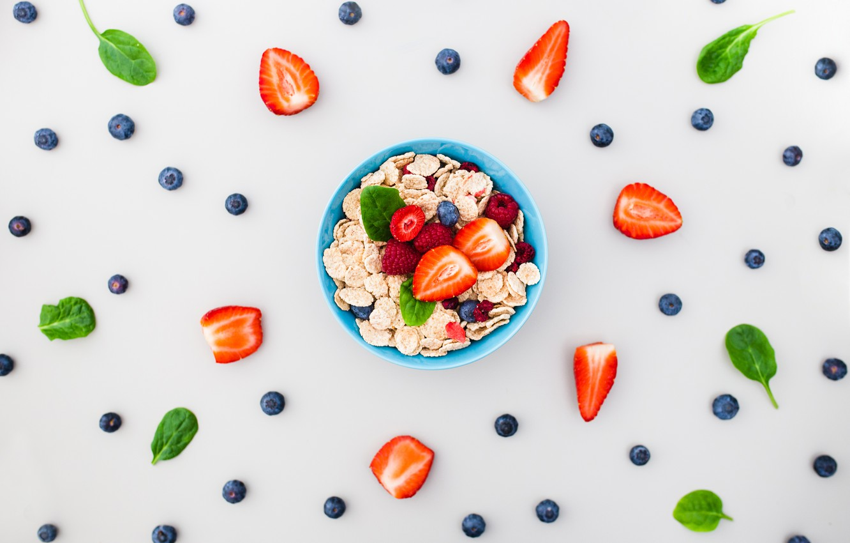 Photo wallpaper berries, Breakfast, blueberries, strawberry, composition, muesli