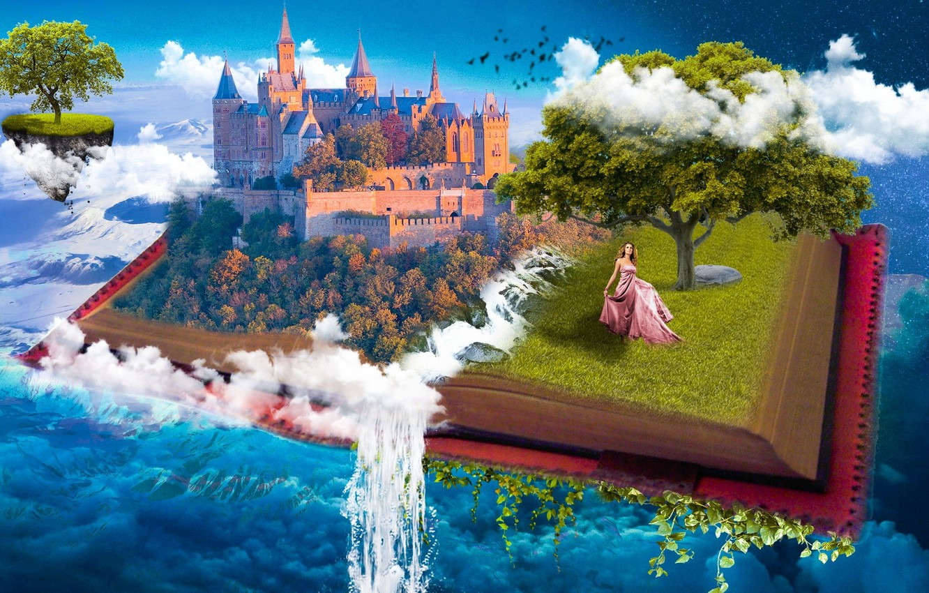 Photo wallpaper the sky, water, girl, clouds, castle, fantasy, tree, collage, the universe, heaven, Paradise, waterfall, tale, …