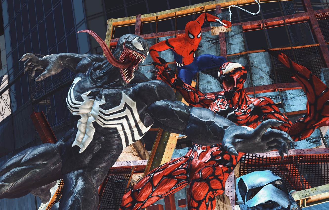Photo wallpaper Art, Marvel, Comics, Venom, Carnage, Spider Man, Fight