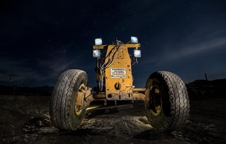Photo wallpaper machine, night, tractor