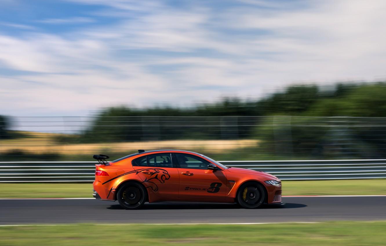Photo wallpaper orange, speed, Jaguar, profile, 2017, XE SV Project 8