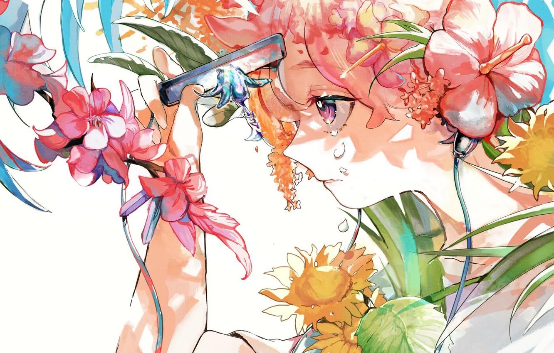 Photo wallpaper girl, flowers, blade, tears