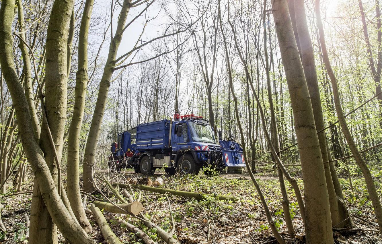 Photo wallpaper forest, trees, Mercedes-Benz, truck, the trailer, equipment, machinery, Unimog, U530