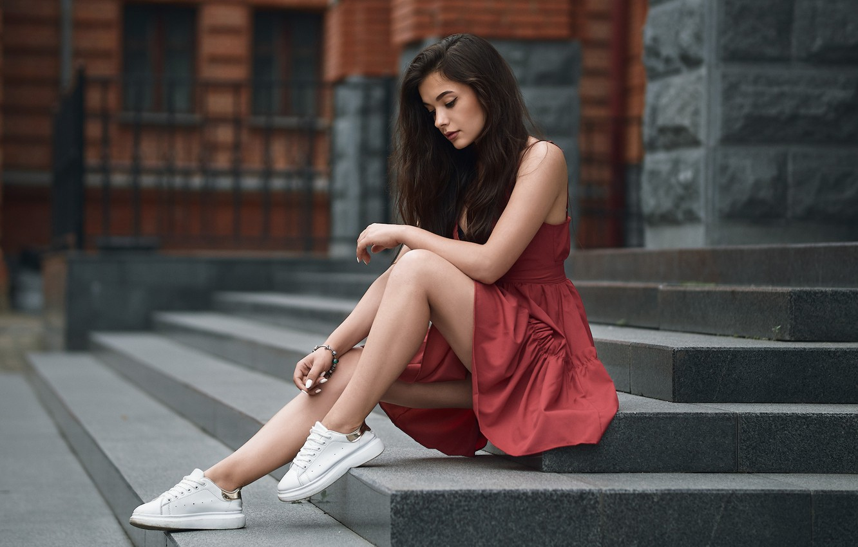 Photo wallpaper girl, pose, feet, dress, stage, sneakers, Alexander Kahn